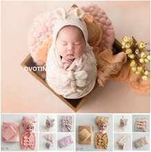 Dvotinst新生児の写真の小道具ソフトベビーポーズボンネット寝袋枕ラップ背景ブランケットfotografiaスタジオ小道具
