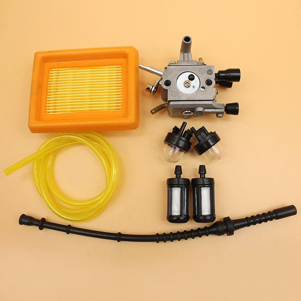 Carburetor Prime Bulb Air Filter Fuel Line Kit For STIHL TRIMMER FS120 FS200 FS020 FS202 TS200 FS250 FS300 FS350 Brush Cutter 3set brush cutter carburetor gasket kit and primer bulb needle 40 5 44f 5 34f 36f 139f gx35 grass trimmer carburetor repair kit