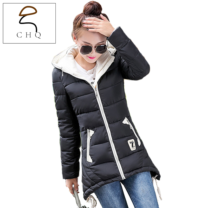 2016 new autumn and winter down coat Girls long paragraph Korean version of Slim was thin thick padded hooded coat fashion 2017 autumn winter fashion was thin