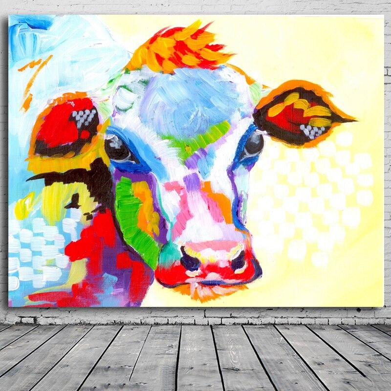 Berėmiai paveikslėliai Abstraktus karvės spausdinimas Tapyba - Namų dekoras - Nuotrauka 2
