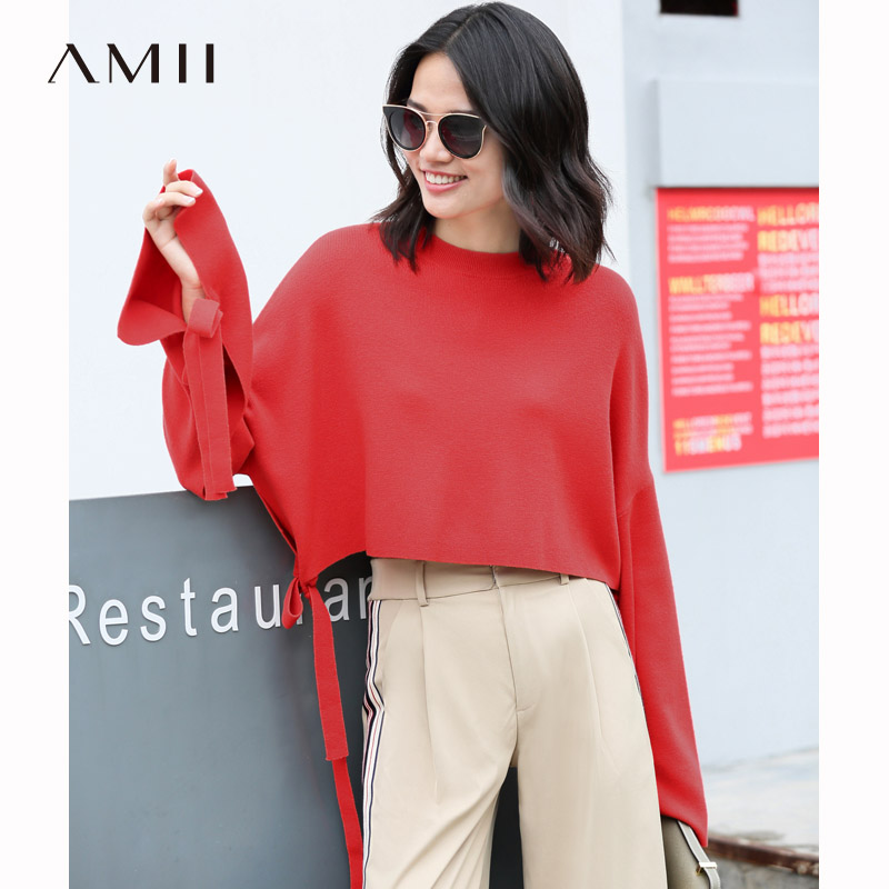 Amii Minimalist Short Knitted Sweater Women Autumn 2019 Causal Solid Wool Long Sleeve Lace Up female
