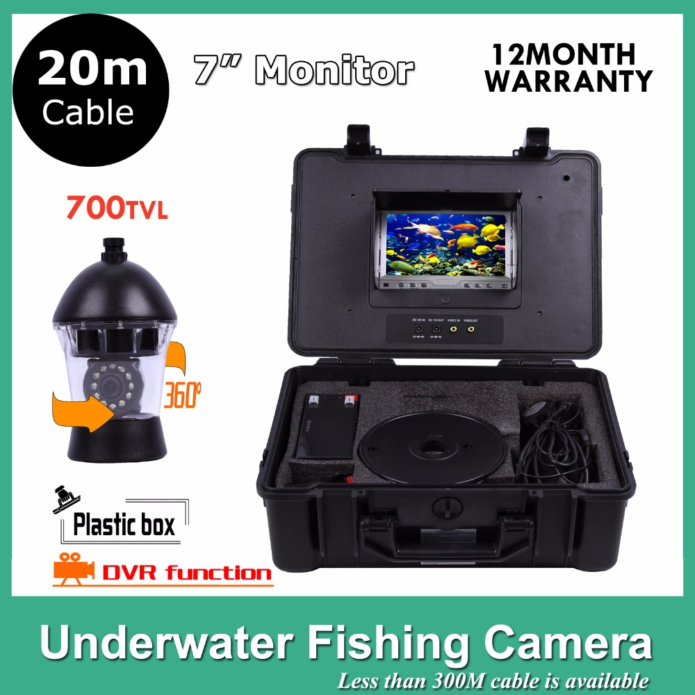Underwater Fish Finder  Video 12Pcs White Leds Camera Nightvision fishing camera With DVR Rotate 360 Degree 20M cable 20m cable underwater fishing camera fish finder with 1 3 sony ccd effio e 12pcs white leds camera night vision rotate 360 degree