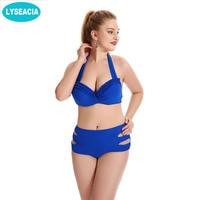Faerdasi High Waist Bikini Push Up Swimsuits Large Size Halter Bikinis Padd Hollow Out Swimsuit Women