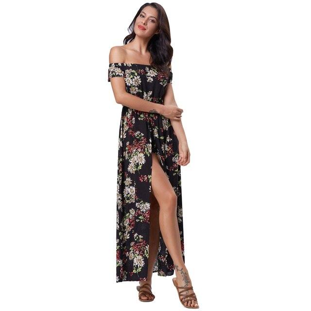35d4fc0504 New Bohemian Dress Floral Print Ruffles Sexy Women Dress Summer Long Maxi  Beach Boho Dresses Vestidos Feminine Floor Length Gown