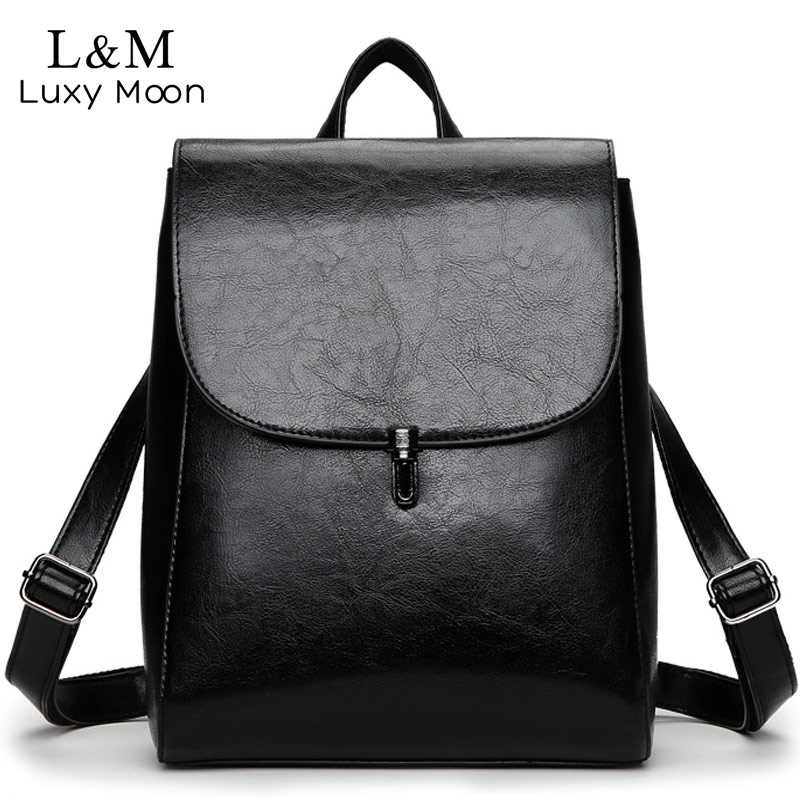 LUXY MOON Fashion Black Leather Backpack Women Brand Quality Backpacks Teenage Girls Casual School Bag Rucksack mochila XA1051H luxy moon rivets black backpack women pu leather backpacks white zipper large school bag for teenage girls fashion rucksack xa8h