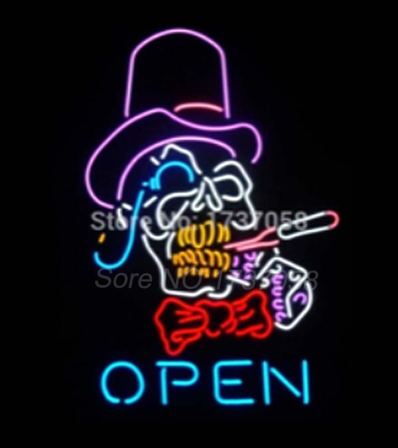 2017 Super Bright Open Sign Smoke Skull Commercial Neon -5858