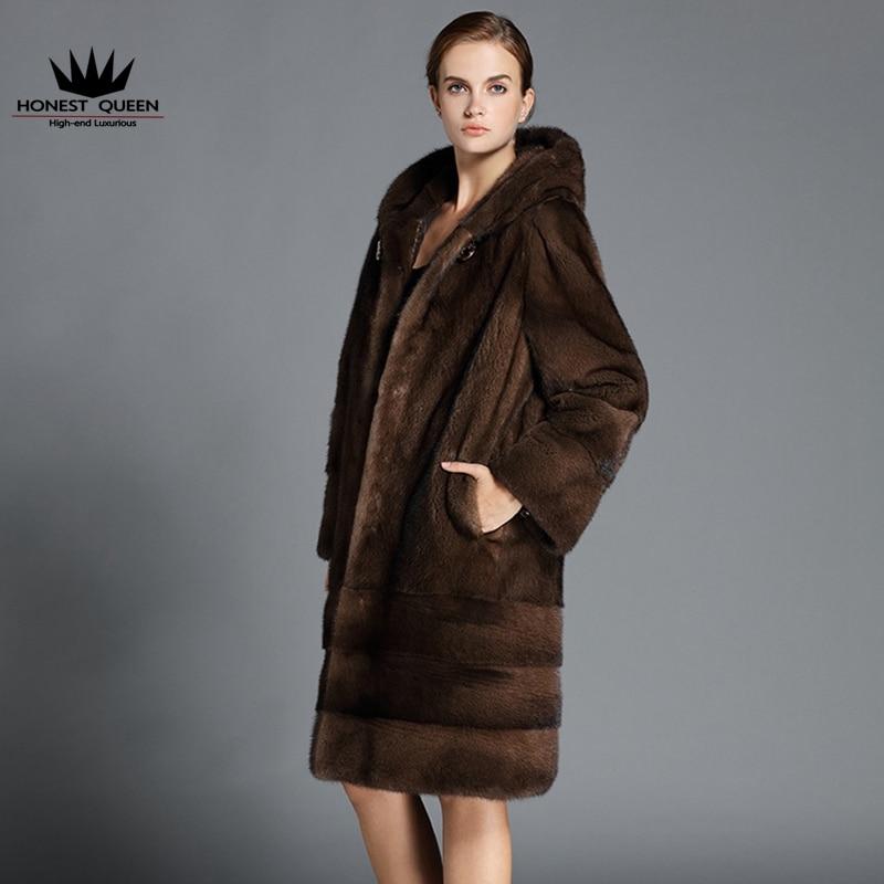 Danish velvet brown mink fur coat women with cap natural real high ...