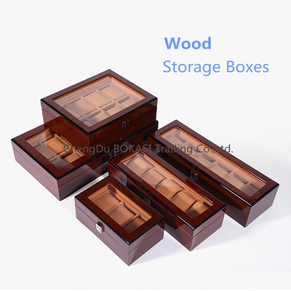 Red Wood Watch Storage Boxes Case New Luxury Wooden Mechanical Watch Display Case Jewelry Gift Box For More Watches luxury wood watch box packagin top window for 10 watches storage box wooden watch display high quality watch case men gift