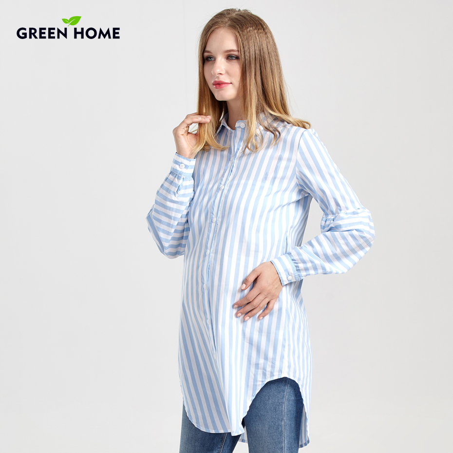 Green Home Maternity Long Blouse Pregnancy New Nursing Tops