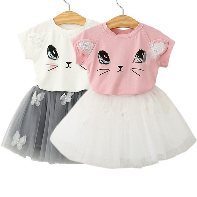 2PCS Toddler Baby Girls Kids Outfits Summer Clothes Cotton Short Sleeve Cat Print Lace T-shirt Tops+ Tutu Dress Set Sunsuit 2-7Y 2017 summer toddler kids girls striped baby romper off shoulder flare sleeve cotton clothes jumpsuit outfits sunsuit 0 4t