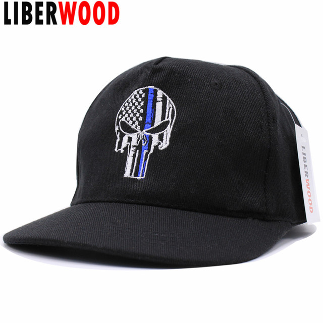 f9b1d15c10e Thin Blue Line Punisher Skull Fit Ball Cap hat Police Law Enforcement USA  flag tactical SWAT baseball cap Trucker hat Punisher