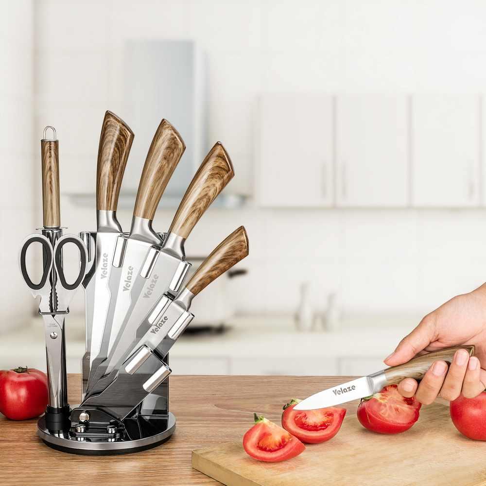 Juego de cuchillos Velaze de 8 piezas, juego de cocina de acero inoxidable con afilador y bloque giratorio, Color madera