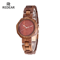 REDEAR Men or Women Full Walnut Wood Wristwatch Hand Make Wooden Watches Best Selling 2019 Products Birthday Anniversary Gifts