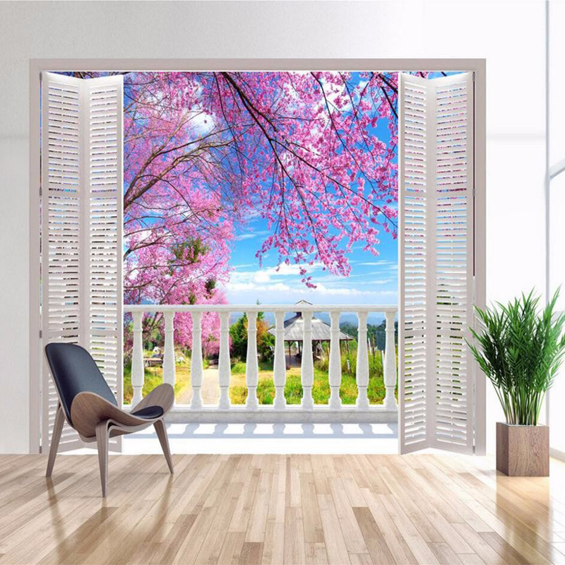 3D Photo Mural Photo Wallpaper False Window Views Romantic Cherry Blossoms Wall Mural Living Room Bedroom Wall Paper Decorative