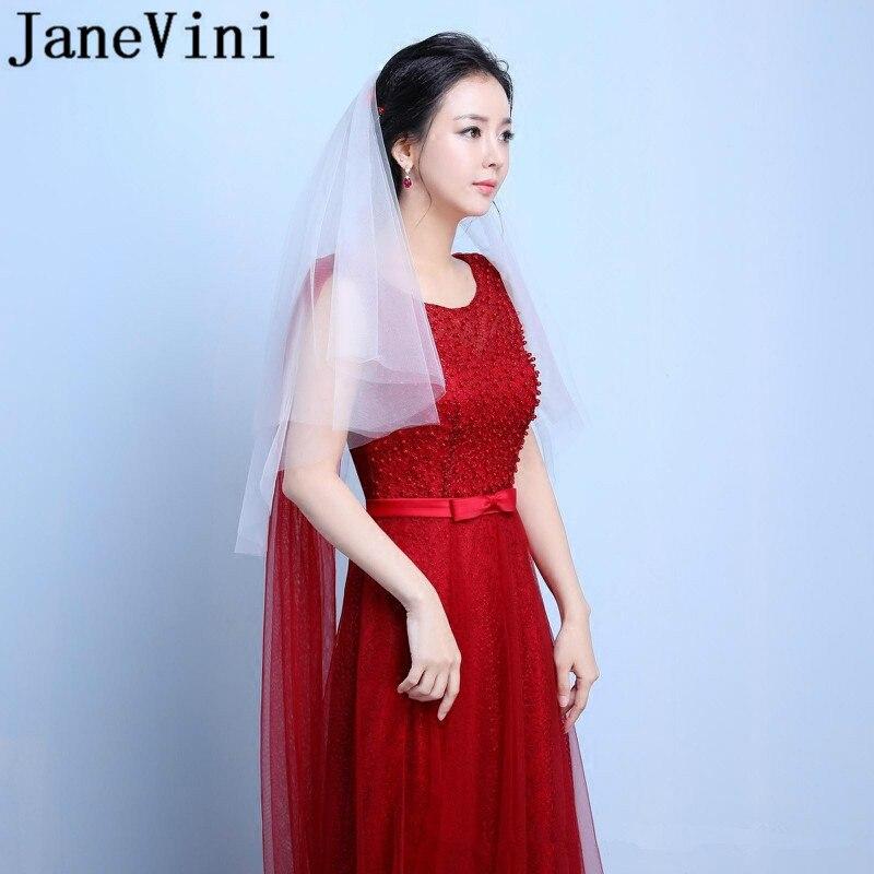 JaneVini Elbow Length Bridal Veil Ivory Black White Simple Two Layers Wedding Veil with Comb sluier ivoor Cut Edge Tulle Veils