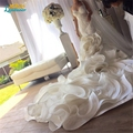 Vestido de noiva de renda Mermaid Wedding Gowns Long Chapel train sheer Lace backless Bridal Dress Lace Robe mariage Bride