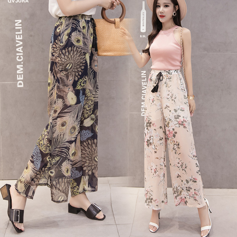 Women Floral Print Chiffon   Wide     Leg     Pant   2019 Summer Female Casual Loose Oversize Trousers High Elastic Waist Boho Beach   Pants