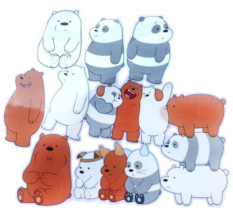 10 sets We Bare Bears sticker anime figure Grizzly Panda Ice Bear decoration glass stick ...