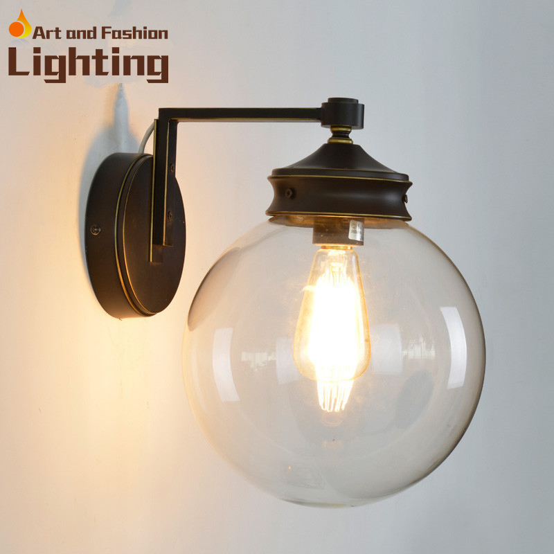 Modern industrial round ball wall lamp transparent glass 25 cm modern industrial round ball wall lamp transparent glass 25 cm diameter light shade in wall lamps from lights lighting on aliexpress alibaba group aloadofball Gallery