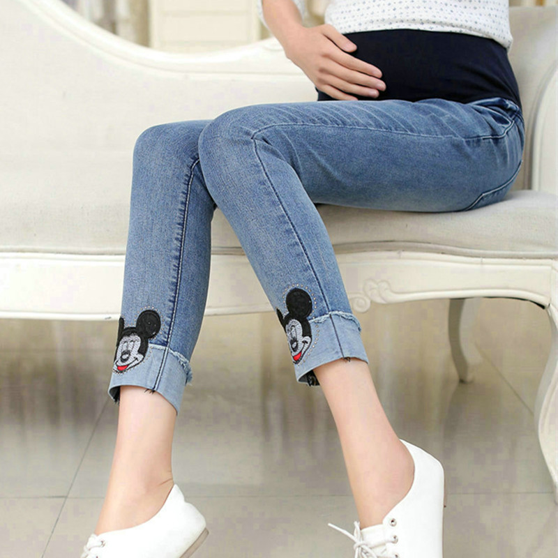 c520d89d20712 Elastic Waist Maternity Pregnancy Jeans Pants Pregnant Women Leggings Cute  Cartoon Solid Clothes For Pregnant Women 3020-in Jeans from Mother & Kids