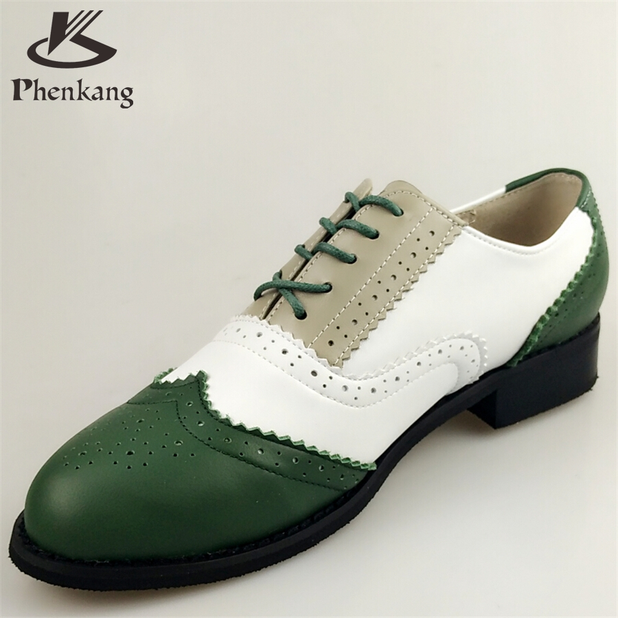 ФОТО Genuine leather big woman US size 11 designer vintage shoes round toe handmade green white grey oxford shoes for women fur