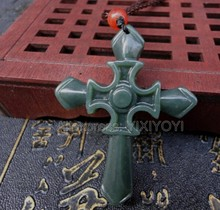 Beautiful Natural Green HeTian Jade Carved Flower Amulet Cross Lucky Pendant + Free Rope Necklace Certificate Fine Jewelry