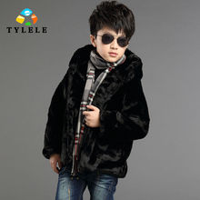 Free shipping children clothes new arrival winter children's clothes boy imitated fur cotton-padded clothes coat thick coat