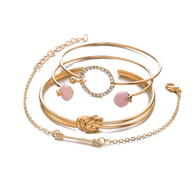 4 Pcs/ Set Classic Arrow Knot Round Crystal Gem Multi-layer Adjustable Open Bracelet Set