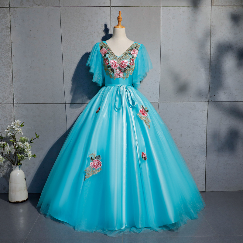 lake blue butterfly sleeve embroidery ball gown Medieval Renaissance Gown queen cos Victorian dress /Antoinette/ Belle ball