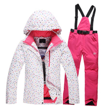 2015 High Quality Women Ski Suit Beautiful Flower Waterproof Windproof Ski Jacket+Pants Warm Thicken Clothes Pants Set Brand New