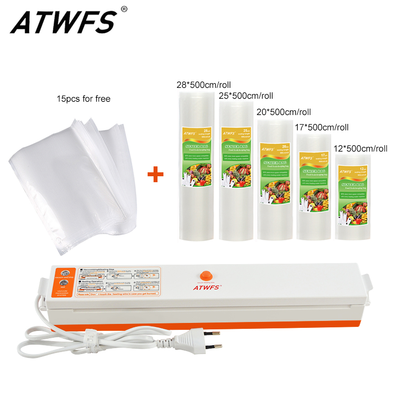 ATWFS пищевой вакуумный упаковщик упаковка упаковщик запайки с 5 рулонов вакуумные пакеты (12,17, 20,25, 28X500 см)