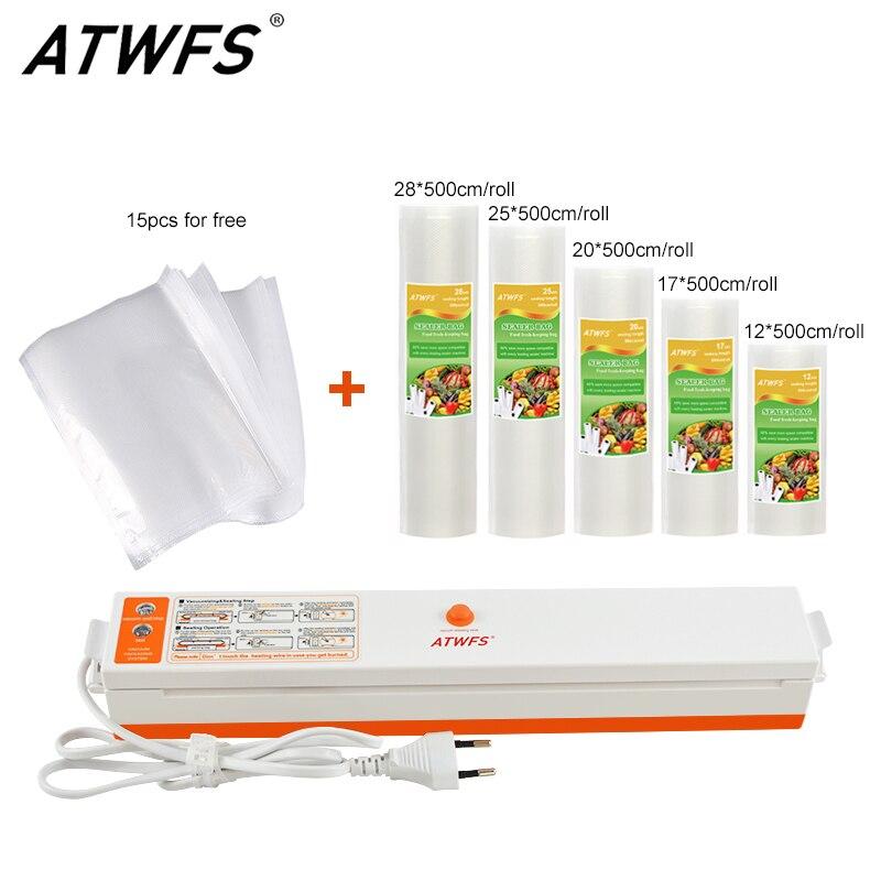 ATWFS Alimentaire Emballage Emballage Sous Vide Packer D'étanchéité Machine Avec 5 Rolls Vide Sacs (12,17, 20,25, 28X500 cm)