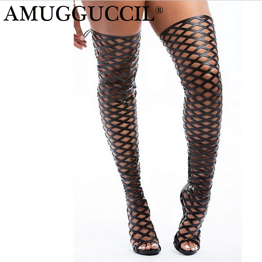 2018 New Plus Big Size 34-52 Black Zip Lace Up Fashion Sexy High Heel Summer Boots Girl Female Ladies Women Sandals X1716 size 34 43 2018 new women summer boots fashion mesh gladiator sandals female knee high boots mujer breathable zip sexy lace boot