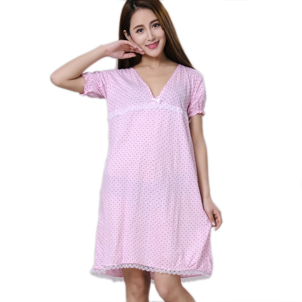 Women Nightgowns 100% Cotton 2019 New Summer And Autumn Female Sleepshirt Thin Nightdress Cheap Lounge Blue Yellow Pink
