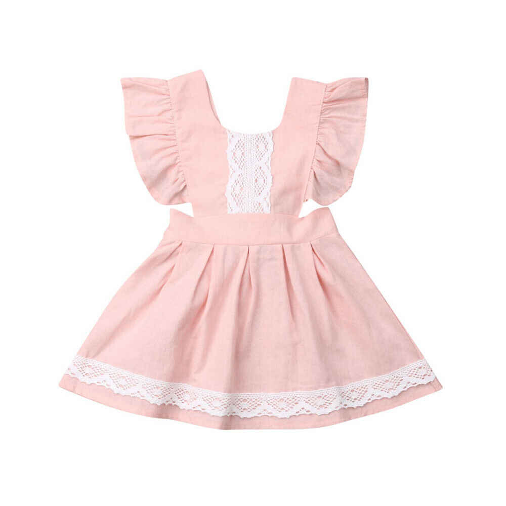 Summer Princess Sister Matching Clothes Big Little Sister Girls Lace Floral Ruffle Fly Sleeve Dress Bodysuits Outfits Clothes