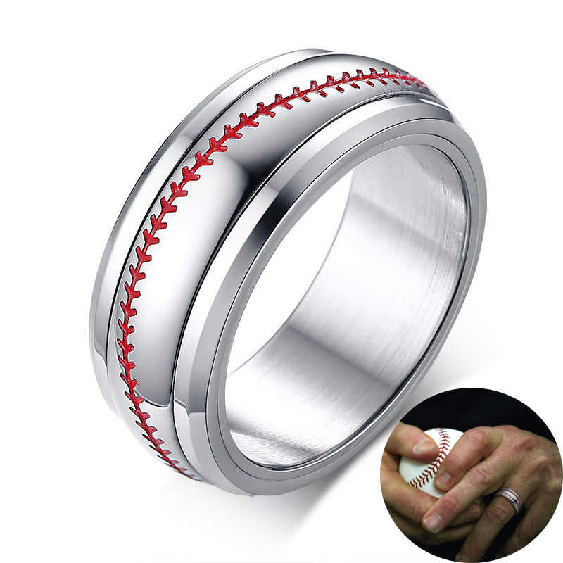 Men's Silver Tone Baseball Spinner Spinning Ring Red Stitching with Stainless Steel Sports Softball Dome Rings Comfort Fit 8mm