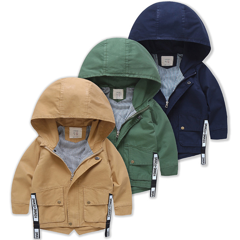 2018 New Long Jackets For Boys Hooded Baby Boy Windbreaker Boys Jackets And Coats Spring Autumn Children Outerwear Clothes стоимость