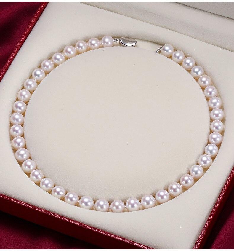 925 argent réel naturel grand compteur véritable 9-10-11mm jour lumière ronde collier de perles et véritable femme envoyer un cadeau à maman