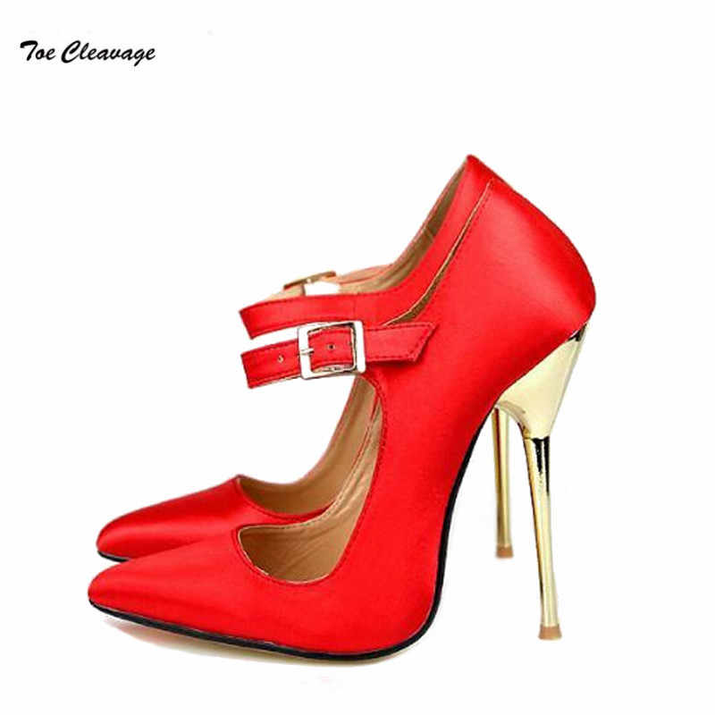 8e04002dc7 Feminino Stiletto Spring/Autumn Pointed Toe shoe women 14cm metal  continental heel zapatos mujer Office