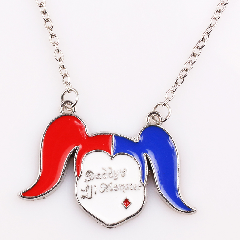 RJ Fashion Suicide Squads Necklace Alloy Metal Hanger Chain Clown Girl Necklace Cartoon Girl Men Jewelry Choker