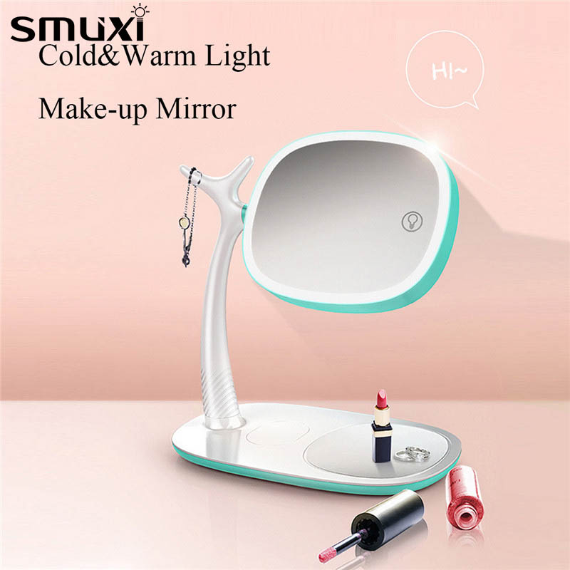 2 in 1 Multifuntional Touch Screen Makeup Mirror 360 Degree Rotating LED Light Tabletop Desk Lamp with Dimmer Double-sided Lamp цены