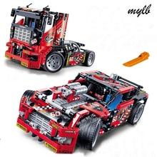 Mylb 608 pcs Caminhão de Corrida de Carro 2 Em 1 Modelo Building Block Define DIY Brinquedos Transformáveis Compatível Com Técnica