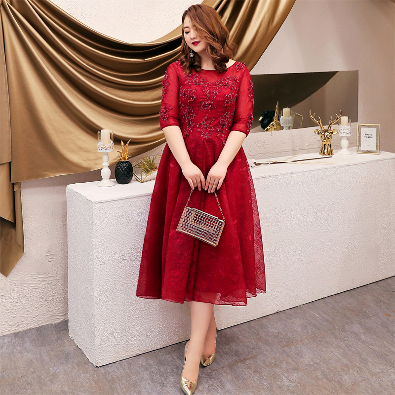 Elegant Tea-length Wine Red Evening Dresses Plus Size Luxury Beading Appliques Lace Engagement Dresses With Half Sleeves