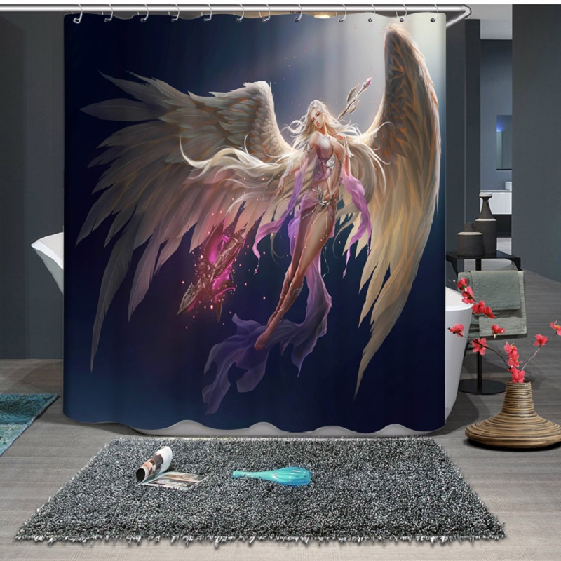 Beautiful Angel Pattern Modern Polyester Waterproof Mildew Shower Home Decoration Curtain
