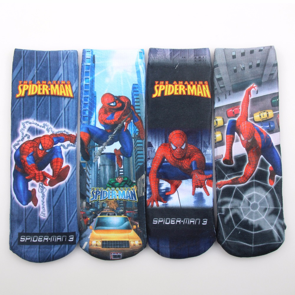 2pairs/lot Cartoon Spring Autumn Kids Socks Cotton Spiderman Boys Socks Baby Socks 3 Sizes For 1-15years Baby Boys Clothing