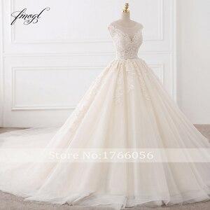 Image 3 - Fmogl Vestido De Noiva Sexy Backless A Line Wedding Dresses 2020 Appliques Lace Royal Train Tulle Bride Gowns Plus Size