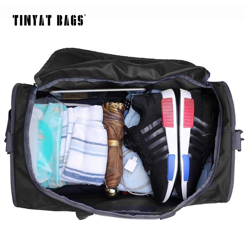 TINYAT Hommes Hommes Sac De Voyage Pliant Sac Portable Molle Femmes Fourre-Tout En Nylon Imperméable décontracté Sac De Voyage bagage Noir T-306 - 3