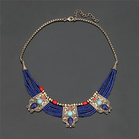 2017 Vintage Elegant Metal Acrylic Blue Beads Bib Necklaces Statement Chain For Women Party Wedding Jewelry