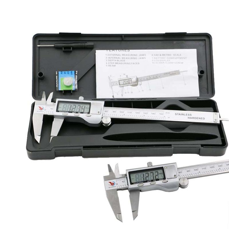 New Metal Polegadas 150mm de Aço Inoxidável Eletrônico Digital Vernier Caliper Micrômetro de Medição ALI88