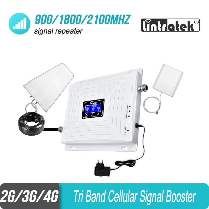Lintratek Global 900 1800 2100 2G 3G 4G Tri Band Cellphone Signal Repeater GSM 900 W-CDMA 2100 DCS 1800 B3 Booster Amplifier #53